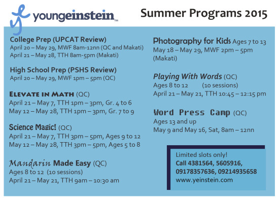 YE Summer Programs 2015